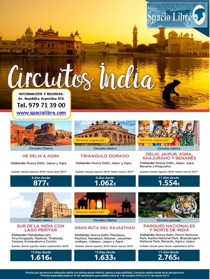 Circuitos India desde Agosto 2016 hasta Abril 2017