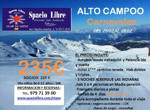 ALTO CAMPOO- Carnavales 25 al 28 Febrero 2018